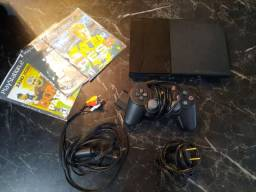 Console Sony PlayStation 2 Slim Preto - PS2 Desbloqueado Semi Novo Original