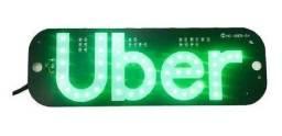 Placa Led Verde Letreiro Motorista De Aplicativo Uber - Placa Uber