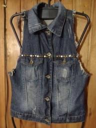 675 - Colete jeans feminino - Tam P_M