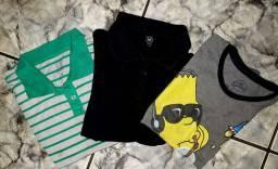 Kit 03 Camisa Infantil // Tamanho: 10 // Brecho Online