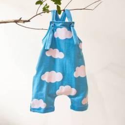 Jardineira Moletinho Infantil Nuvem Azul - Tamanho 1