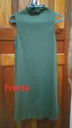 Vende-se vestido com gola alta verde musgo 40$
