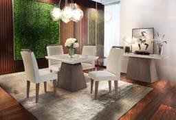 Mesa de jantar 4 cadeiras Luna Vidro Off/white