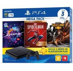 PlayStation 4 1t com 2 controles e 5 jogos na caixa