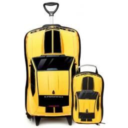 Mochila Escolar 3d Com Rodinhas E Lancheira Camaro Amarelo