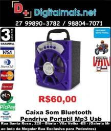 Caixa de Som Bluetooth Usb Pen Drive 8w Led Mp3 Radio