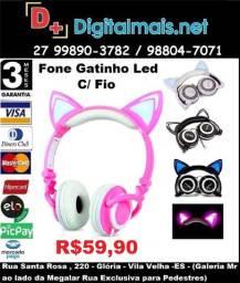 Fone De Ouvido Led Gatinho C/ Fio Celular Pc P2 Orelha