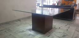 Mesa de Jantar Quadrada c/ tampo bisotado sem Cadeiras em Madeira / Vidro Marrom
