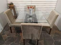Título do anúncio: Fina mesa vidro 1x1 facetado + cadeiras capitonê maciças