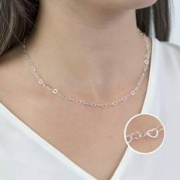 Título do anúncio: Colar Elos de Coração em Prata 925 45 cm