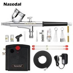 Título do anúncio: Kit Completo Aerografia Mini Compressor Ar Nasedal + Aerógrafo 0,3mm