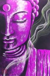 Quadro Buda Roxo Pintado à Mão 60x40cm / Zen, Yoga, Decoração Japonesa, Estampa Oriental