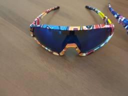 Óculos de sol esportivo com lente azul espelhada
