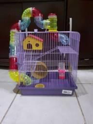 Título do anúncio: gaiola 3 andares para hamster lilás jel plast