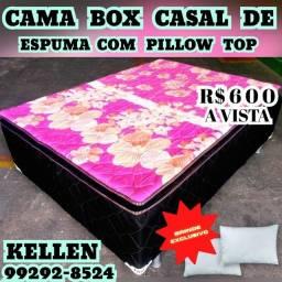 Título do anúncio: cama cama () cama box de casal +2 travesseiros de brinde ()