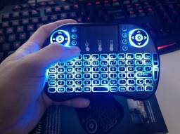 Mini Teclado Led Controle S/ Fio Touch Pad - TvBox Smart Pc Notebook Gamers