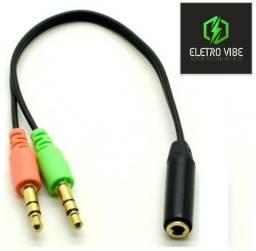 Título do anúncio: Cabo Adaptador Fone Microfone P2 Fêmea + 2 P2 Macho para Headset