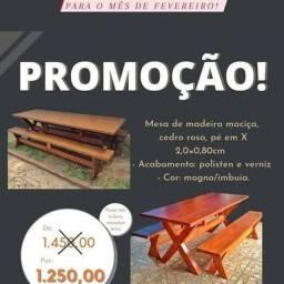 Promoção mesa e Banco pé em X 2,00 x 0,80