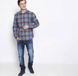 Camisa Smart Fit Xadrez Azul & Marrom Forum