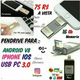 Pendrive para Iphone, 16 G adaptador Otg V8 e Usb para Pc ( Loja Fisica )