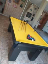 Mesa Quatro Pés Cor Preta Tecido Amarelo Mod. PSTF4569