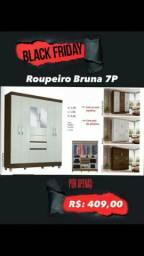 Guarda roupa roupeiro Bruna 7P promoção