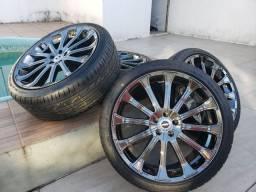 Roda Tsuya aro 18 + pneu Delinte 225/40