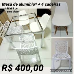 Mesa de alumínio sem vidro+ 4 cadeiras!