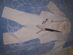 Blazer  social  esporte fino azul listrado  de linho  com suspensórios (Marisol)