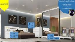 Guarda Roupa Sollo Gigante 2,75M 3 portas espelhadas com opção de conjunto de quarto