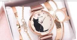 Relógio Feminino Gatinho Rosa