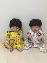 Boneca reborn menina e menino silicone realista