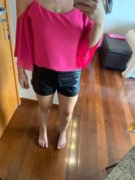 Shorts Couro Fake H&M