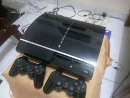 Playstation 3 PS3 cromo. Relíquia. 4 USB com controles originais