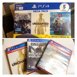 Título do anúncio: PlayStation 4 Novo na caixa +5 Jogos