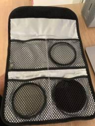 Kit filtros tam 77 HOYA UV + PL CIRC + Warm com estojo