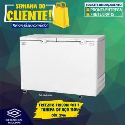 Título do anúncio: Freezer horizontal Fricon 411L tampa de aço Novo Frete Grátis