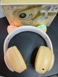 Fone Bluetooth Gatinha cor Amarela rosa e preto