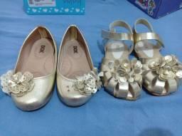 Título do anúncio: COMBO: sapatilha e sandália douradas seminovas