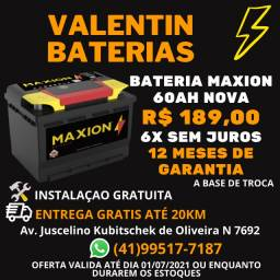 Bateria 60AH Maxion Nova - 12 Meses de Garantia -Entrega Grátis - 6x Sem Juros