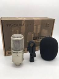 Kit Microfone condensador Takstar PC-K200 e fonte phantom power
