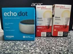 Amazon Alexia Echot Dot 3ª + 2 Lampadas Smart