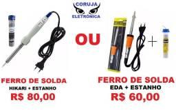 Ferro Solda Hikari ou Eda 60w + 1 Tubo Estanho 25g Leia o Anúncio F 98876.3162