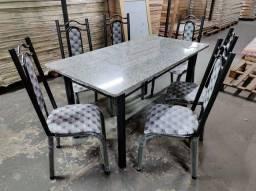 Mesa de jantar pedra ardósia 6 cadeiras promoção relâmpago entrega grátis monta na hora