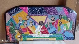 Quadro mosaico santa ceia.