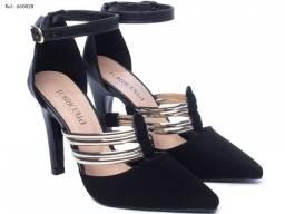 Sapato Scarpin Feminino com Tiras Metalizadas