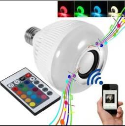 Lâmpada Bluetooth Com Led Música 12w + Controle Remoto<br><br>