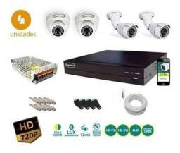 Título do anúncio: Kit cftv 4 câmeras Full HD 1080P veja placas de veículos/instalação grátis