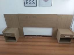 Cabeceira cama de casal queen extensível + 2 nichos de parede