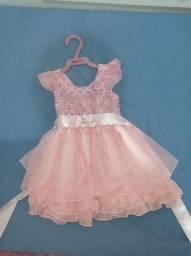 Título do anúncio: Vestido rosa usado somente uma vez